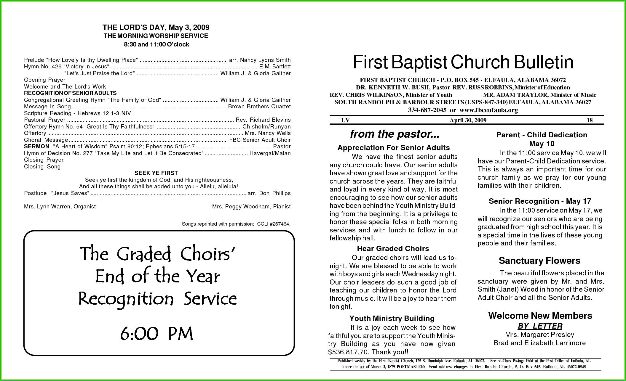 Baptist Church Bulletin Templates