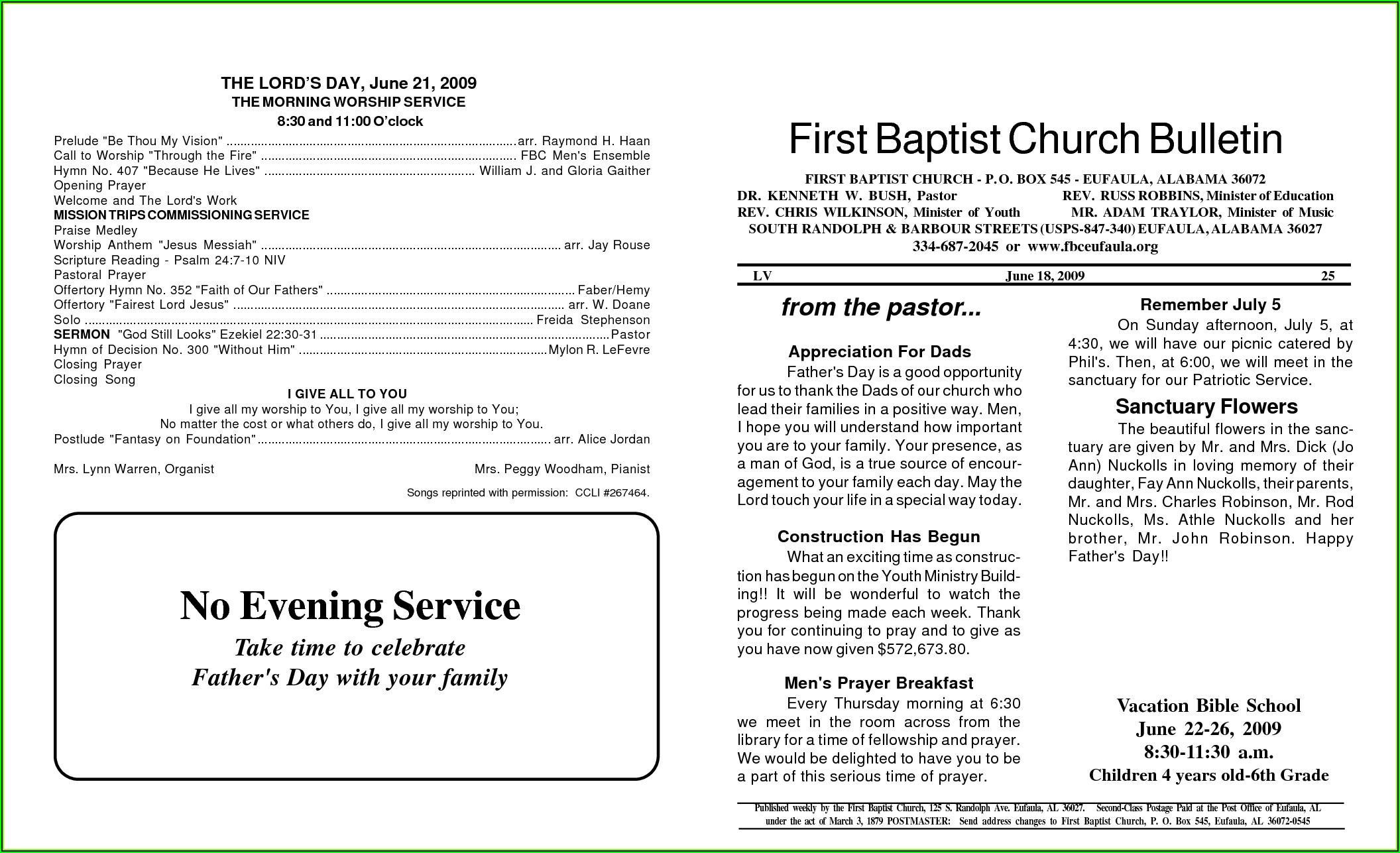 Baptist Church Program Templates