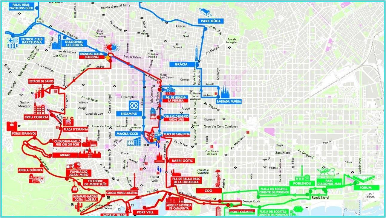 Barcelona Hop On Hop Off Bus Route Map