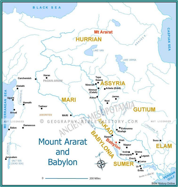 Bible Map Land Of Shinar