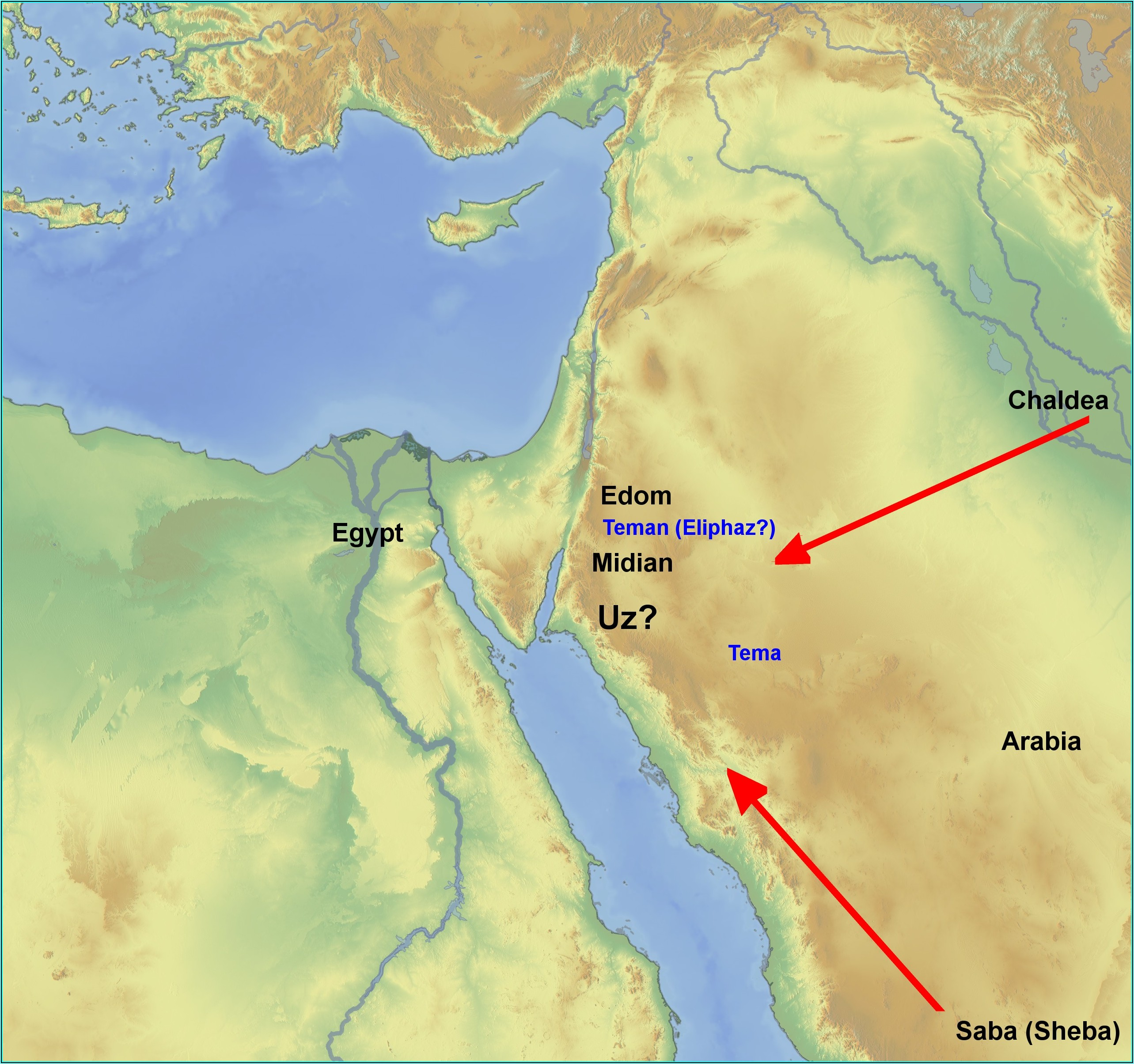 Bible Map Land Of Uz