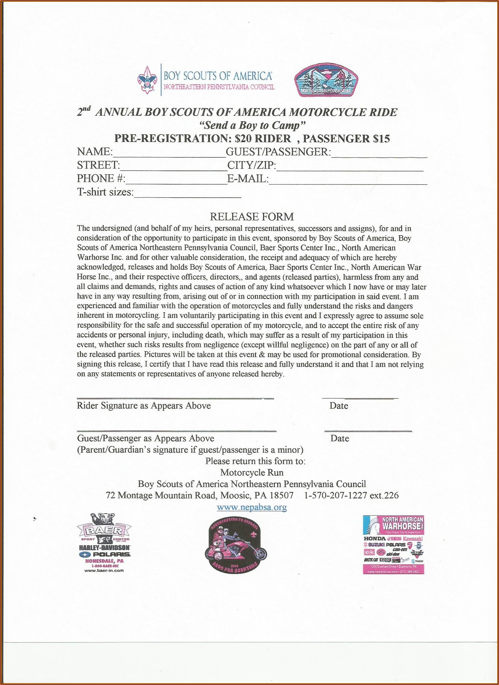 Bike Run Waiver Form