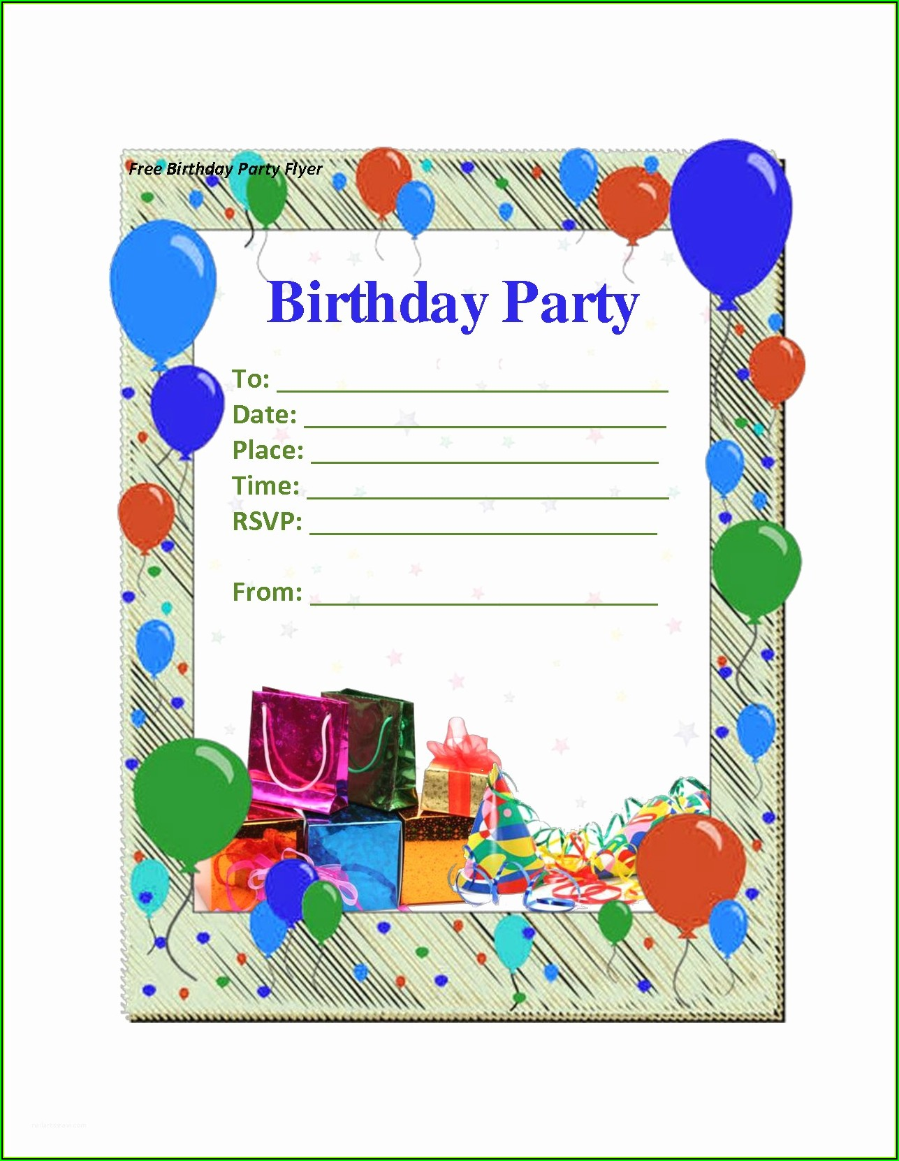 Birthday Party Invitation Template Printable