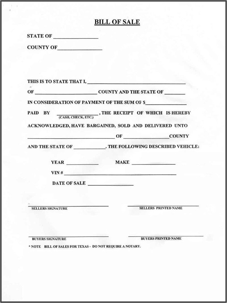 Blank Bill Of Sale Form For A Car