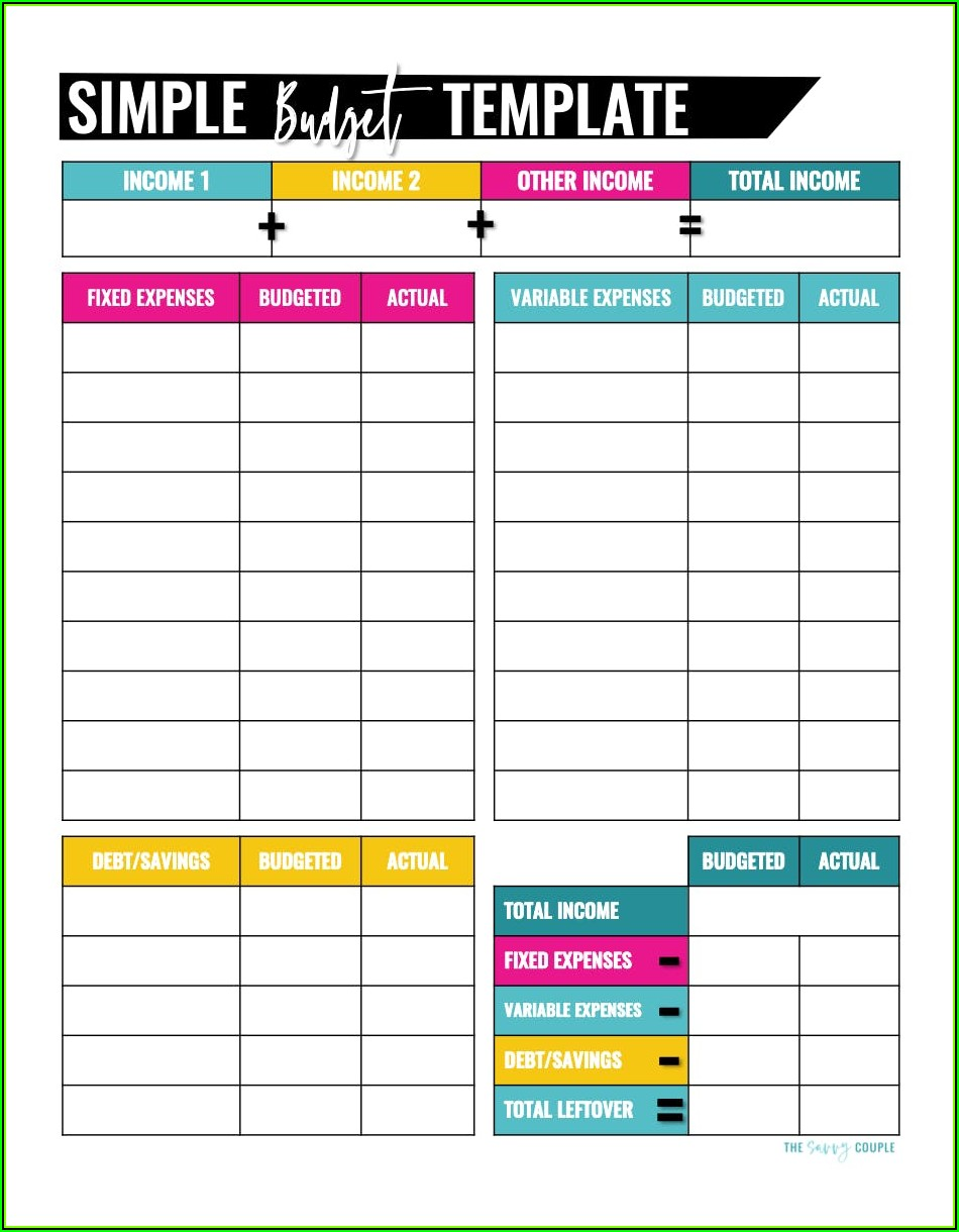 Blank Paycheck Budget Template