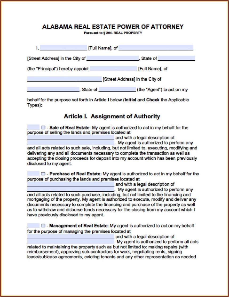 Blank Power Of Attorney Form Alabama
