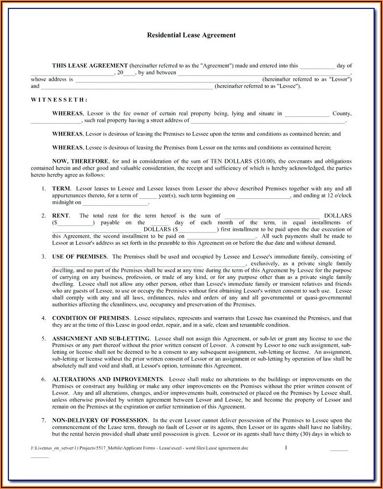 Blank Rental Lease Agreement Forms Free