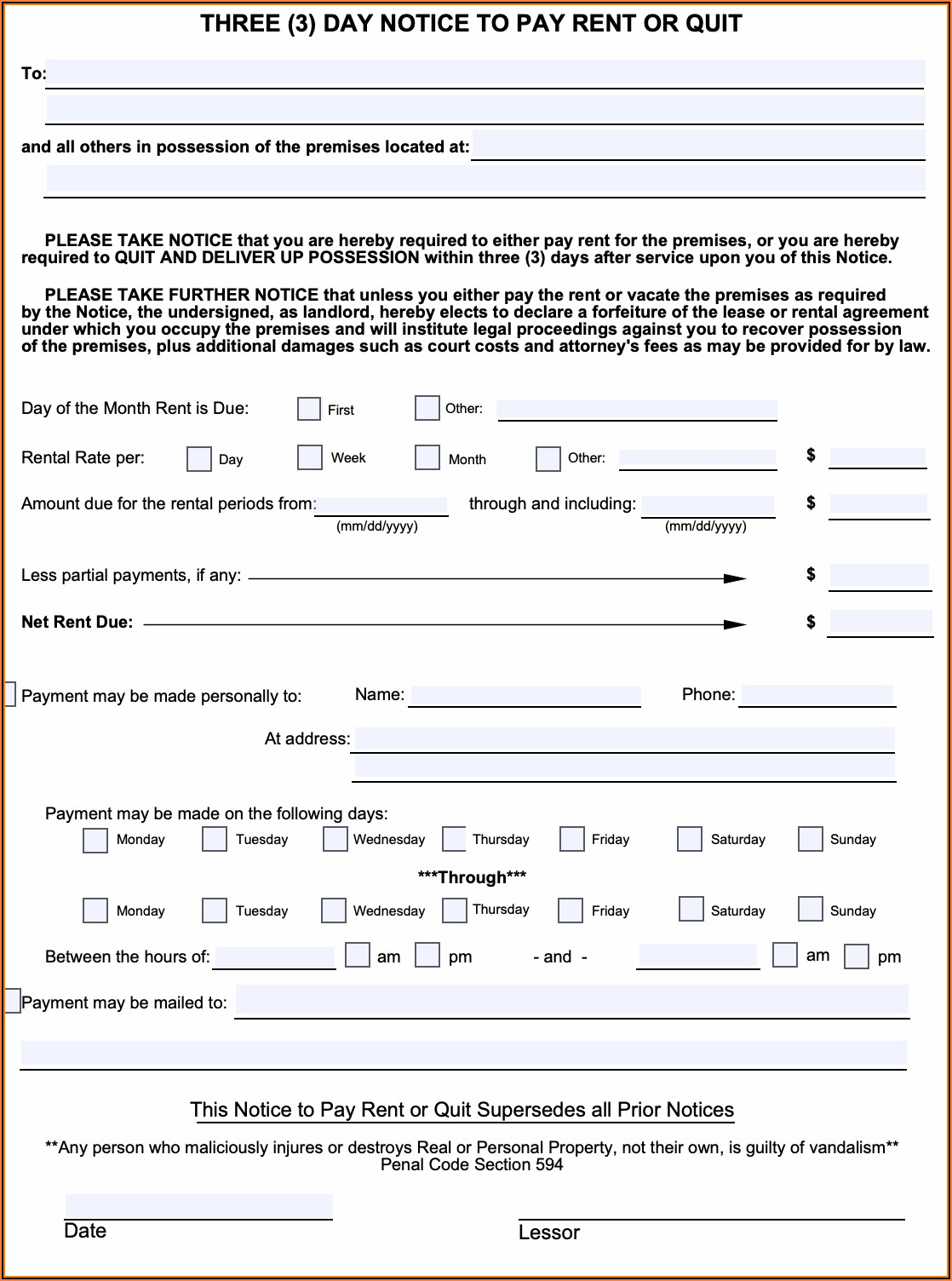 California 3 Day Notice To Pay Or Quit Commercial Lease Form
