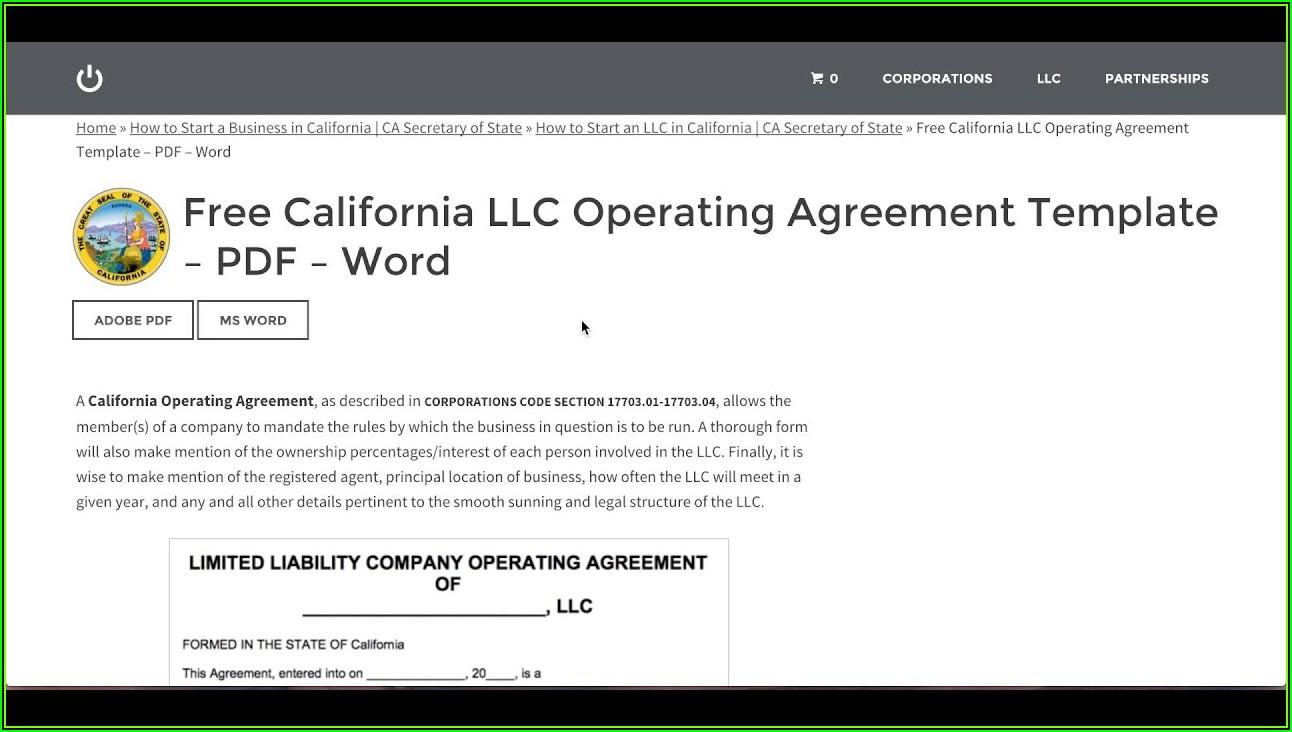 California Llc Operating Agreement Template Free