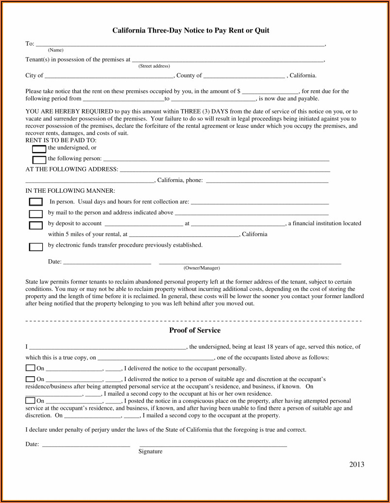 California Rental Eviction Notice Form