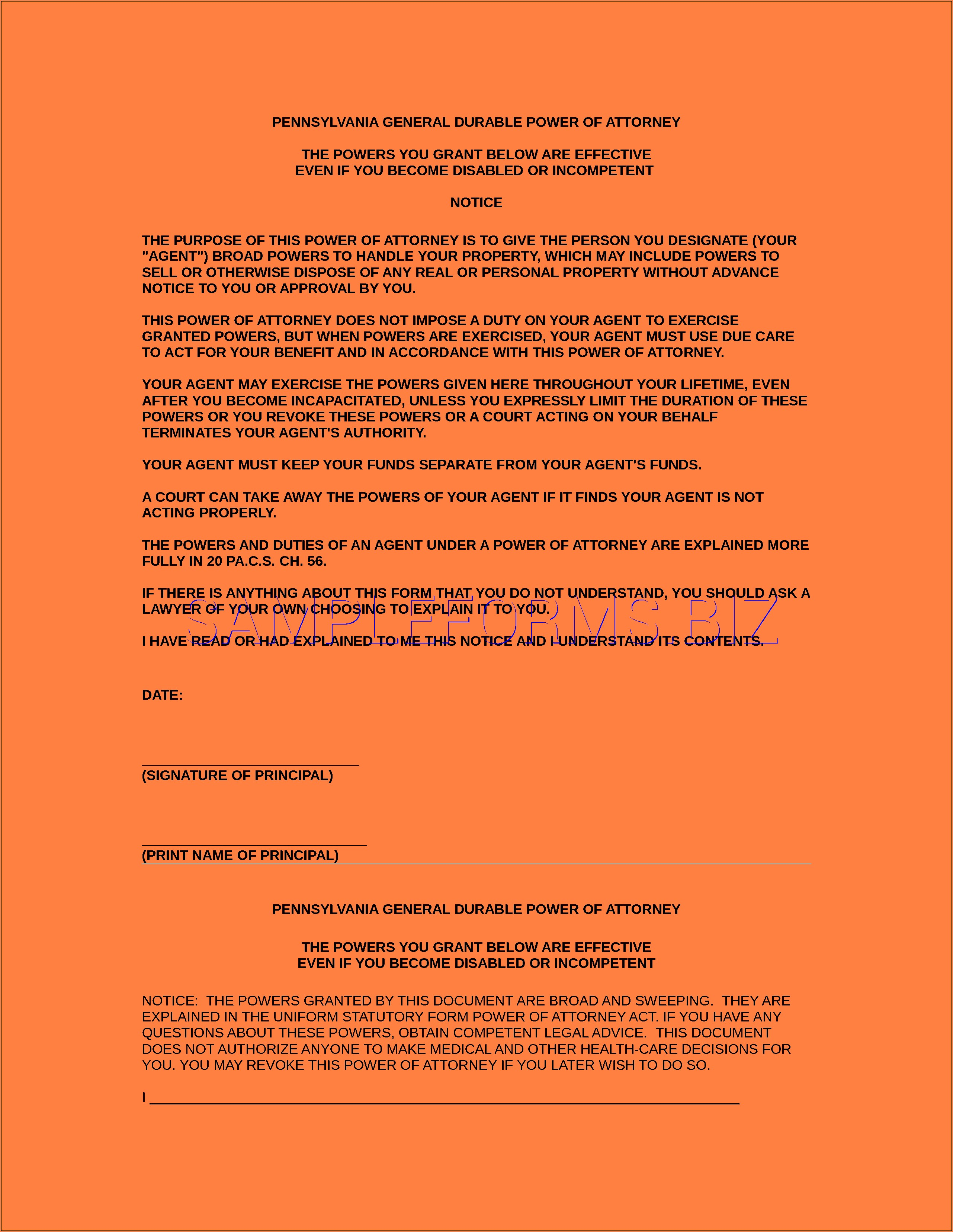 California Statutory Form Durable Power Of Attorney For Health Care
