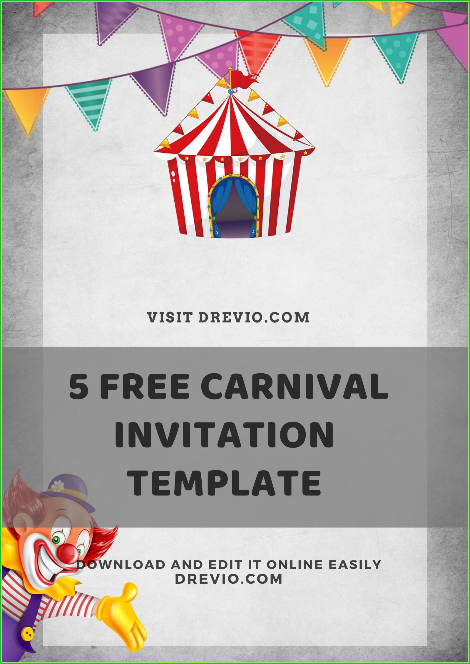 Carnival Themed Birthday Party Invitation Templates Free