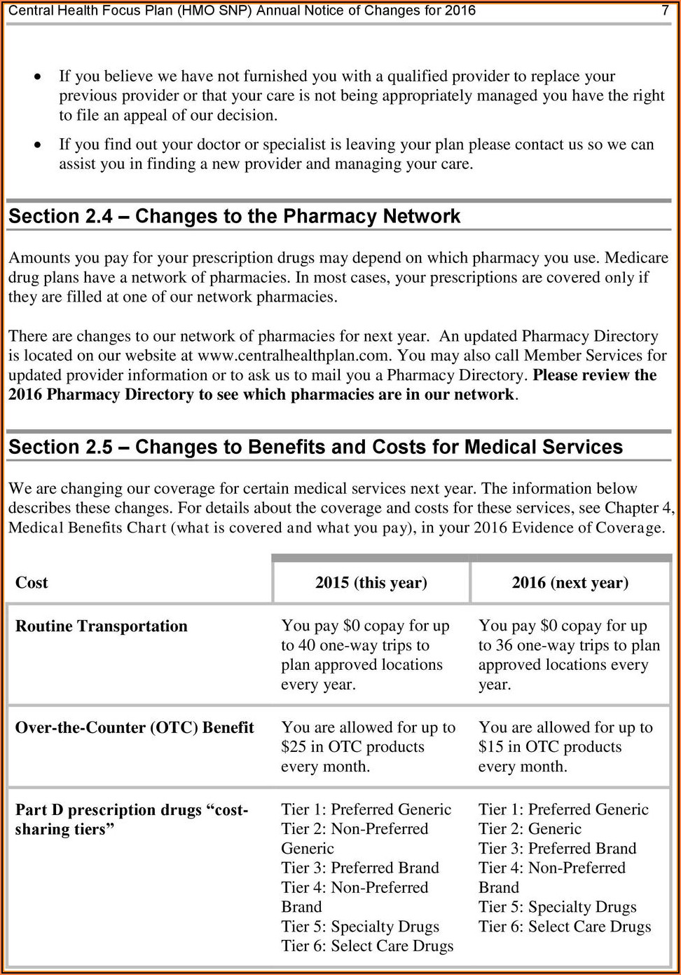 Central Health Medicare Plan Otc Order Form