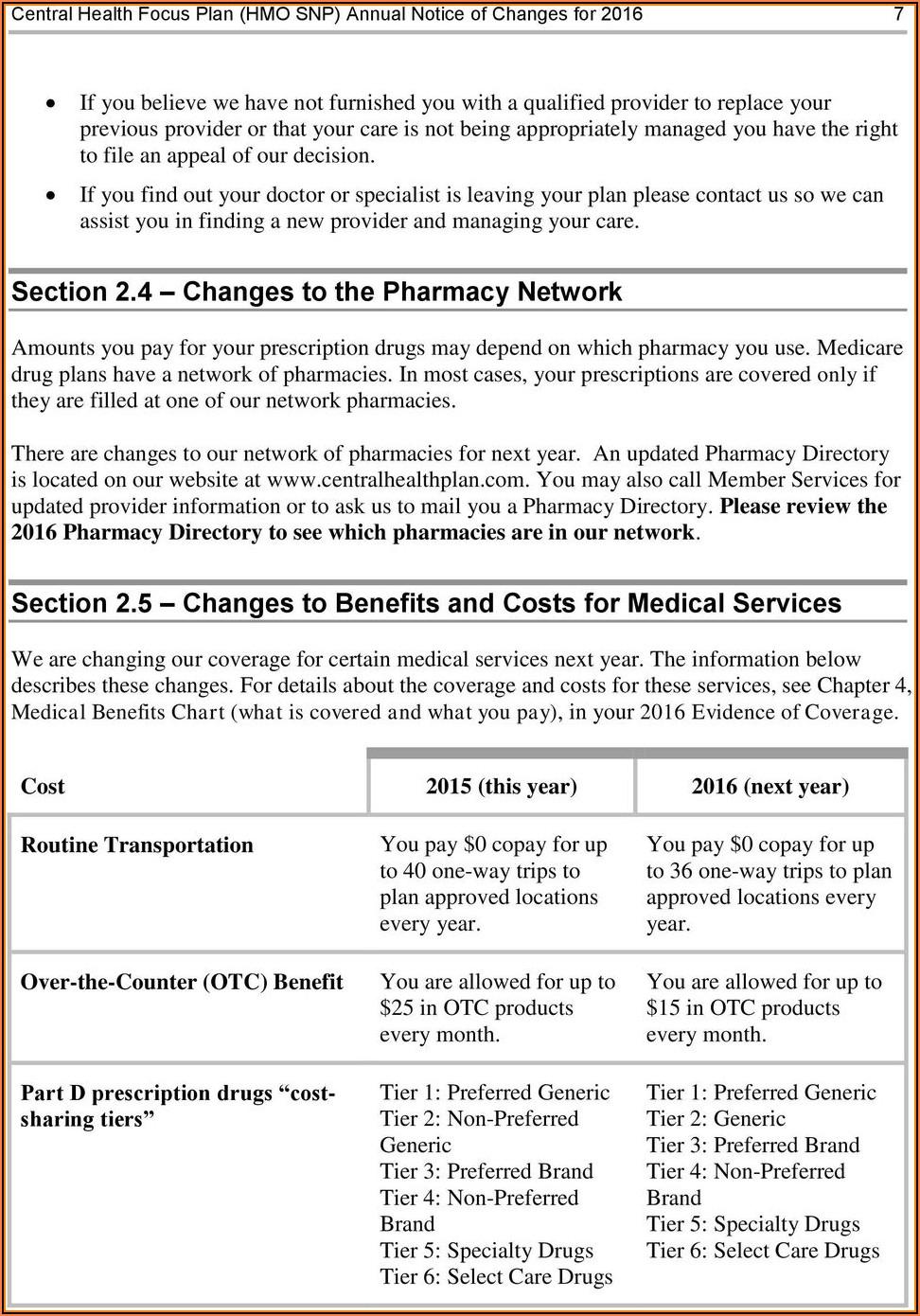 Central Health Medicare Plan Otc Order Form