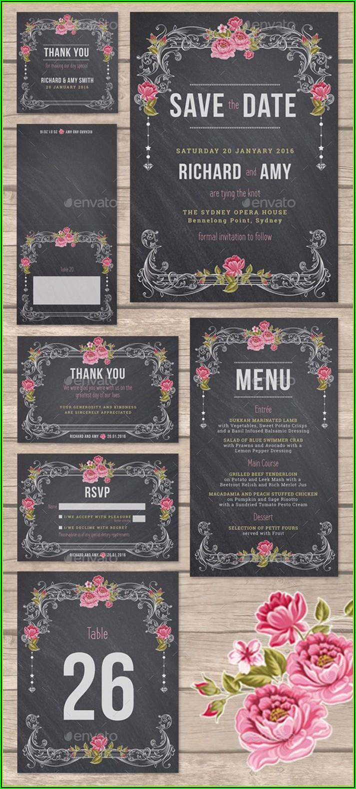 Chalkboard Wedding Invitation Templates