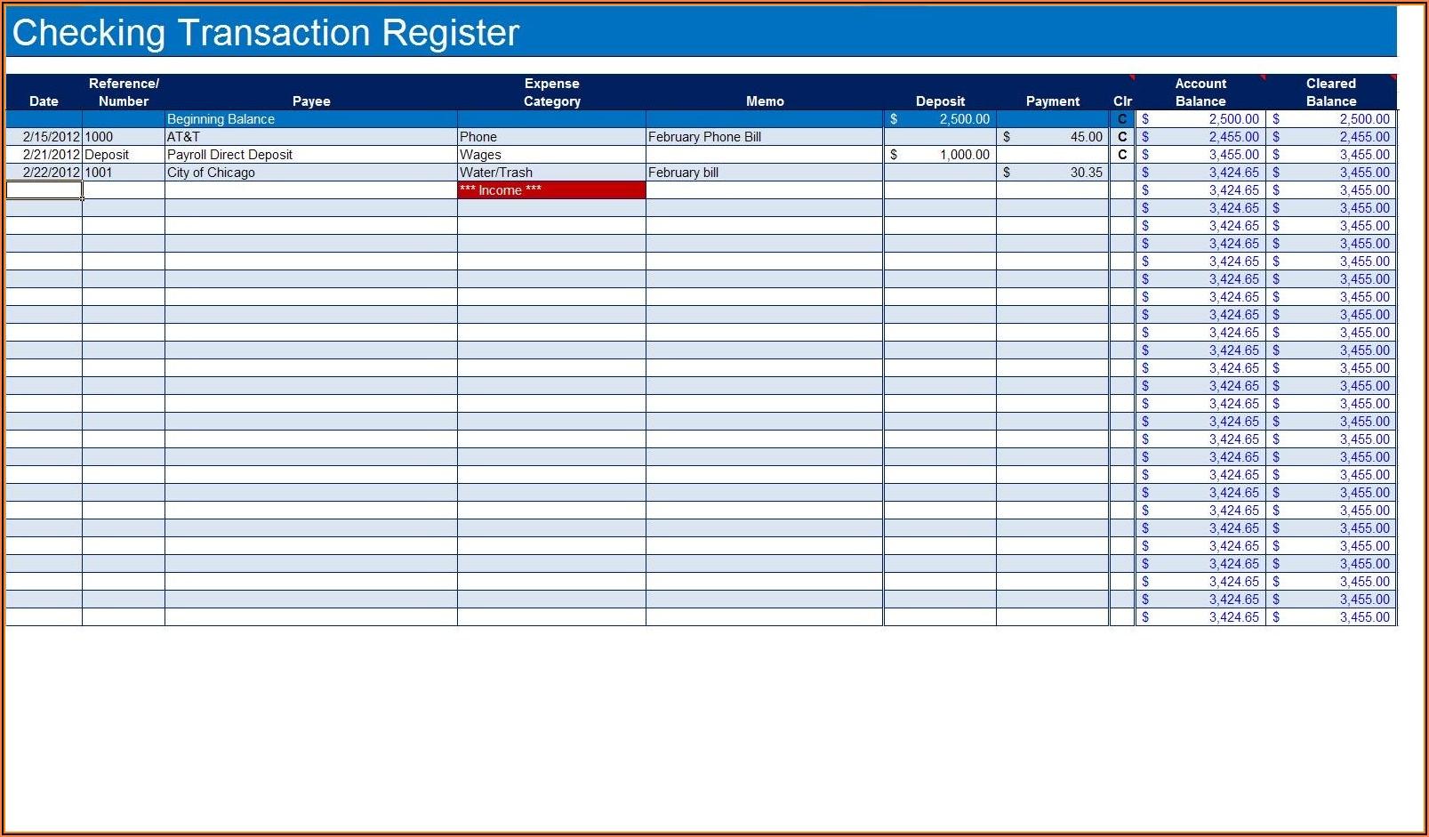 Checkbook Register Formula For Excel