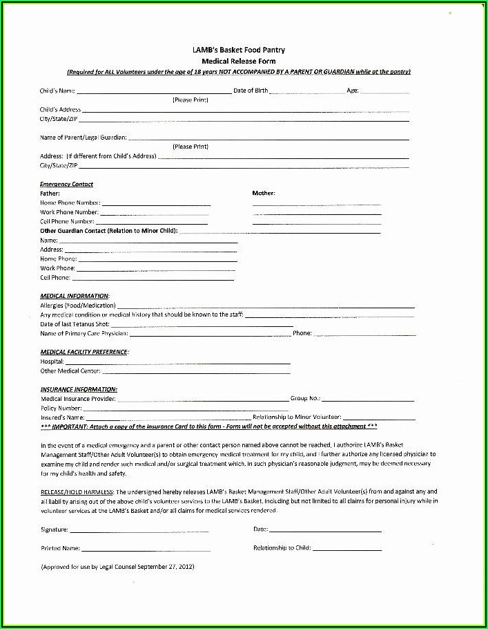 Child Medical Consent Template
