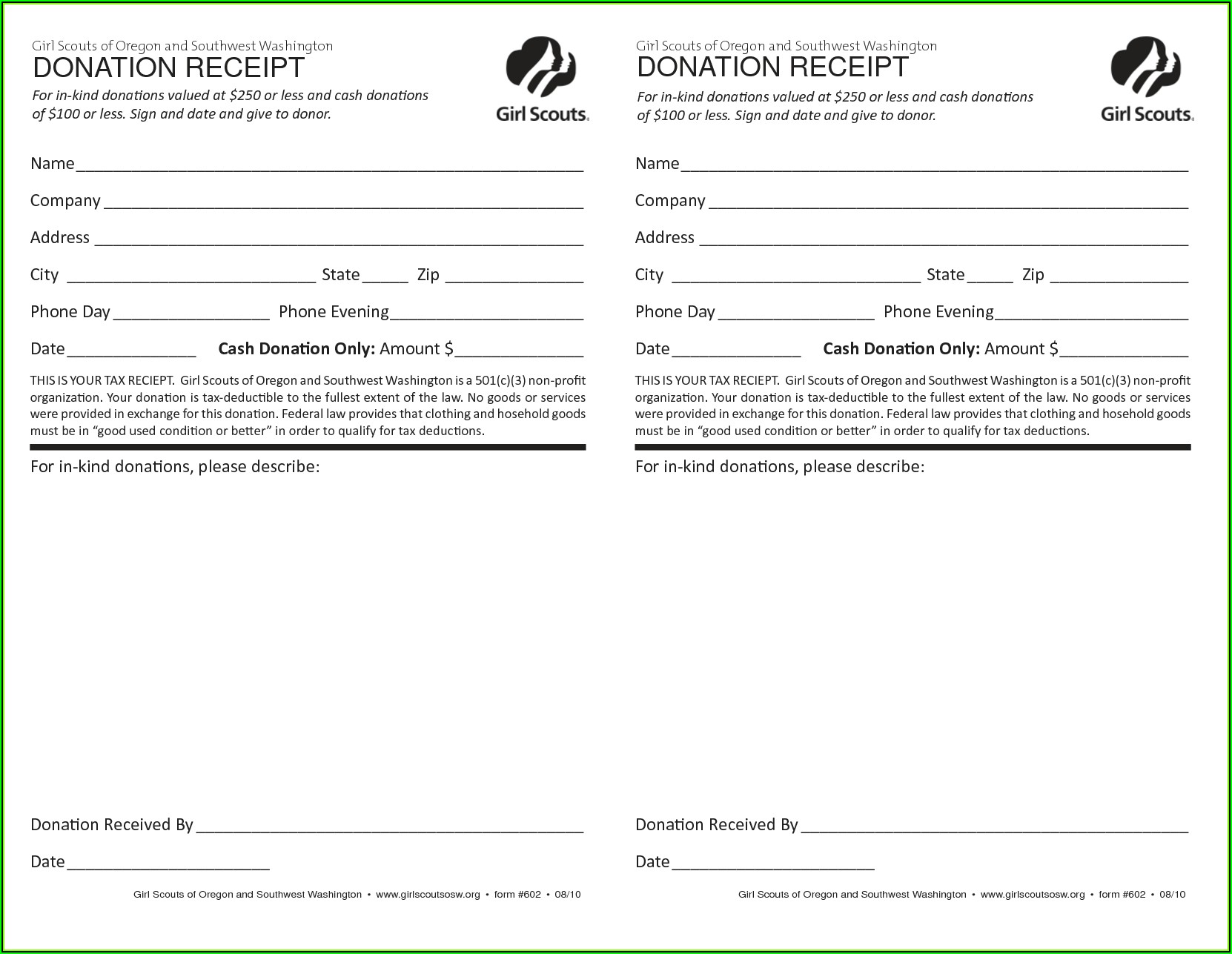Church Receipts For Donations Template