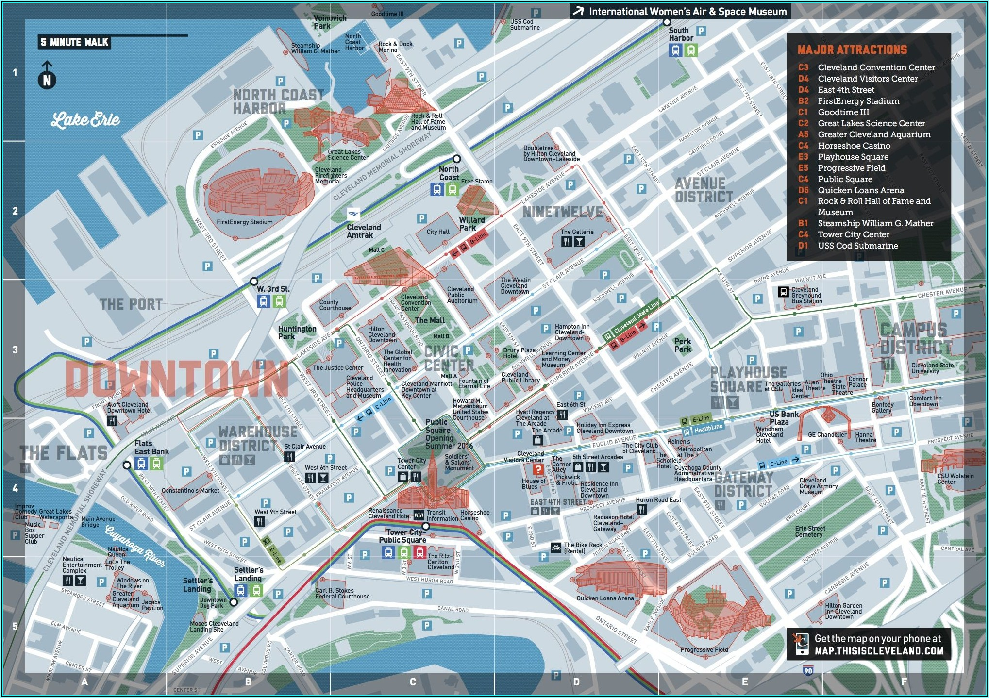 Cleveland Hotels Downtown Map