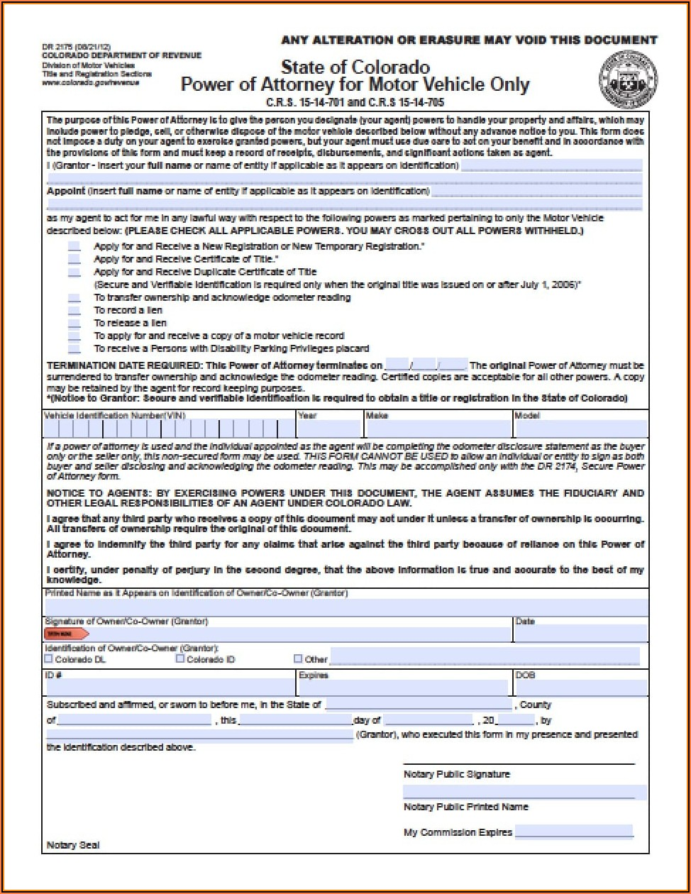 Colorado Specific Power Of Attorney Form
