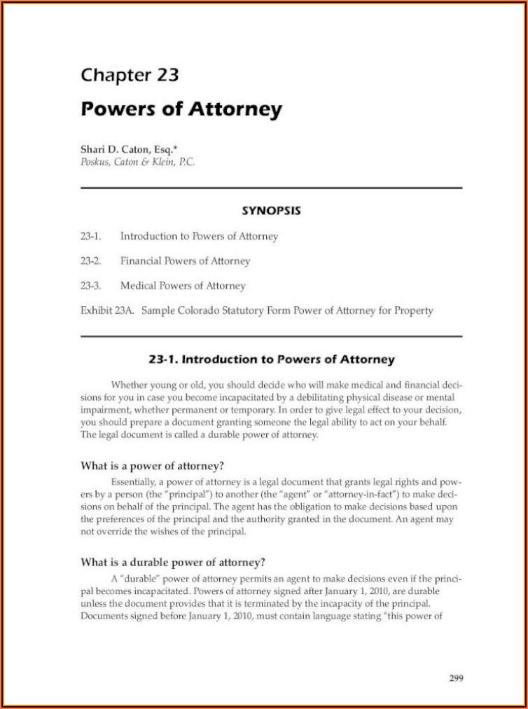 Colorado Statutory Power Of Attorney Form