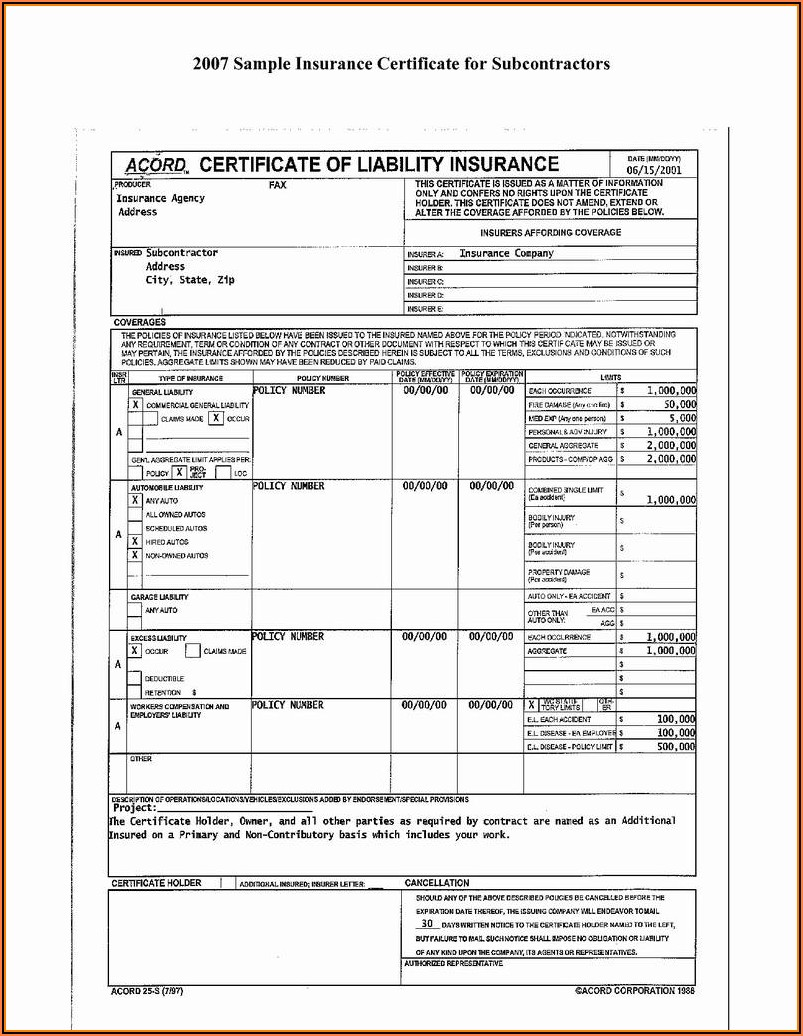 Commercial General Liability Insurance Acord Form