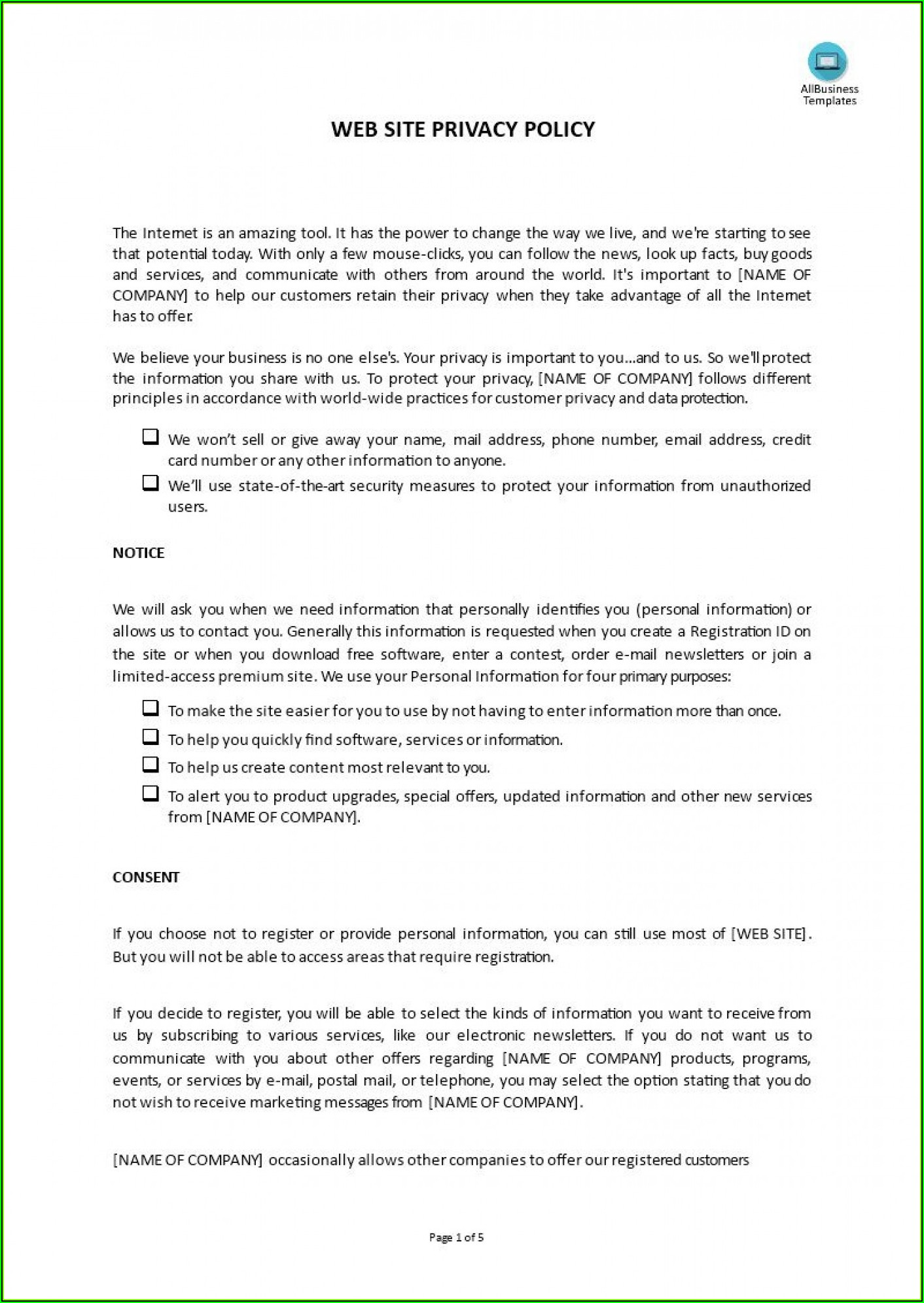 Company Credit Card Policy Template Free