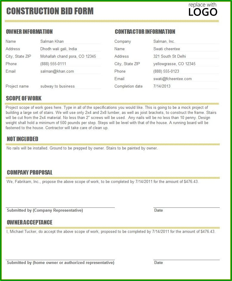 Construction Bid Contract Template