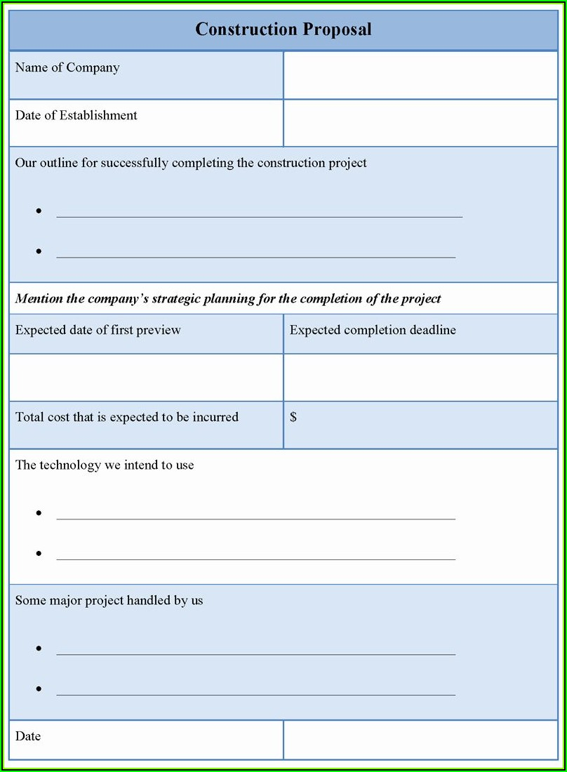 Contract Bid Proposal Template