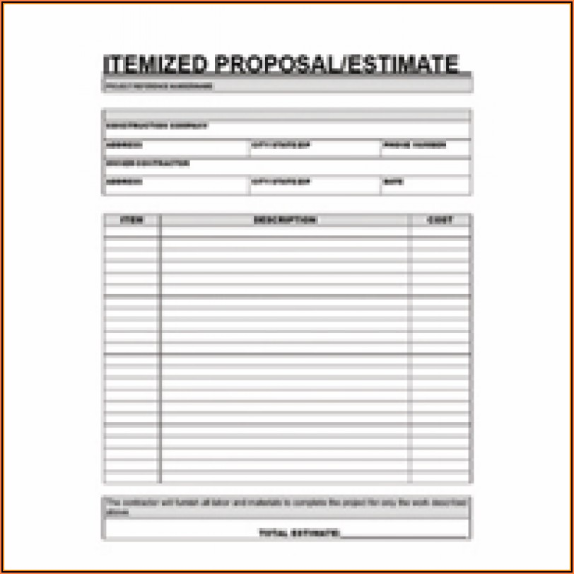 Contractor Estimate Forms Templates