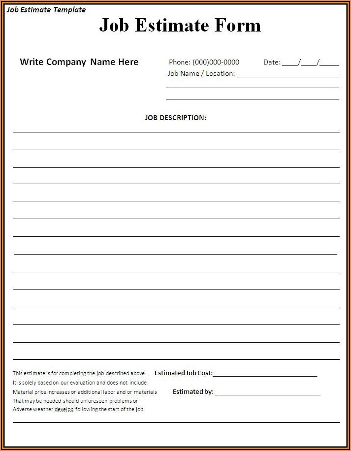 Contractor Forms Templates