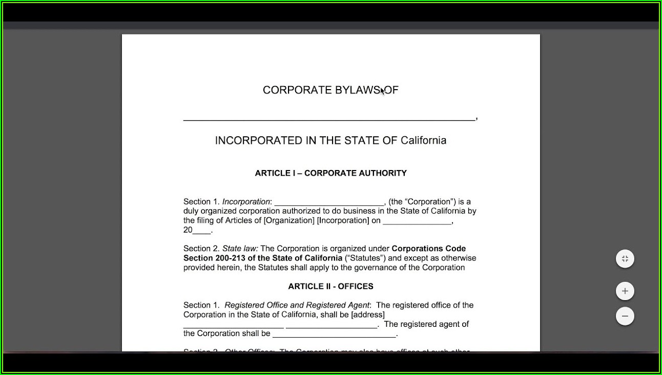 Corporate Bylaws Template Doc