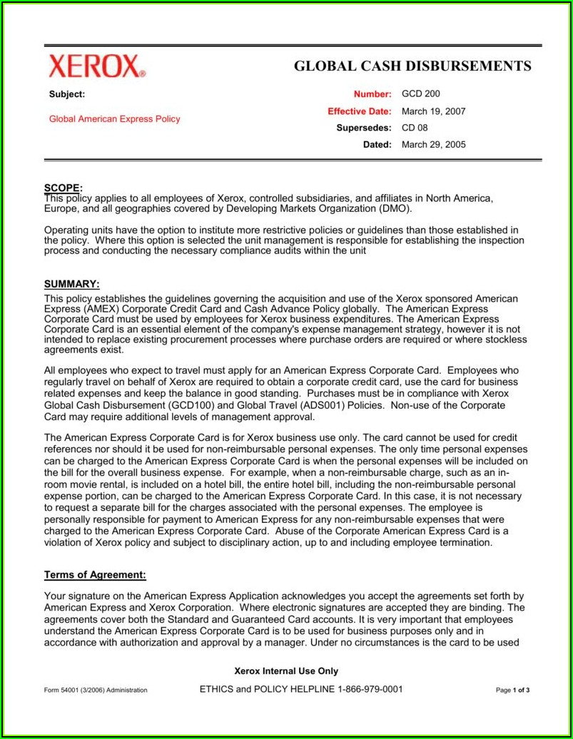 Corporate Credit Card Policy Template