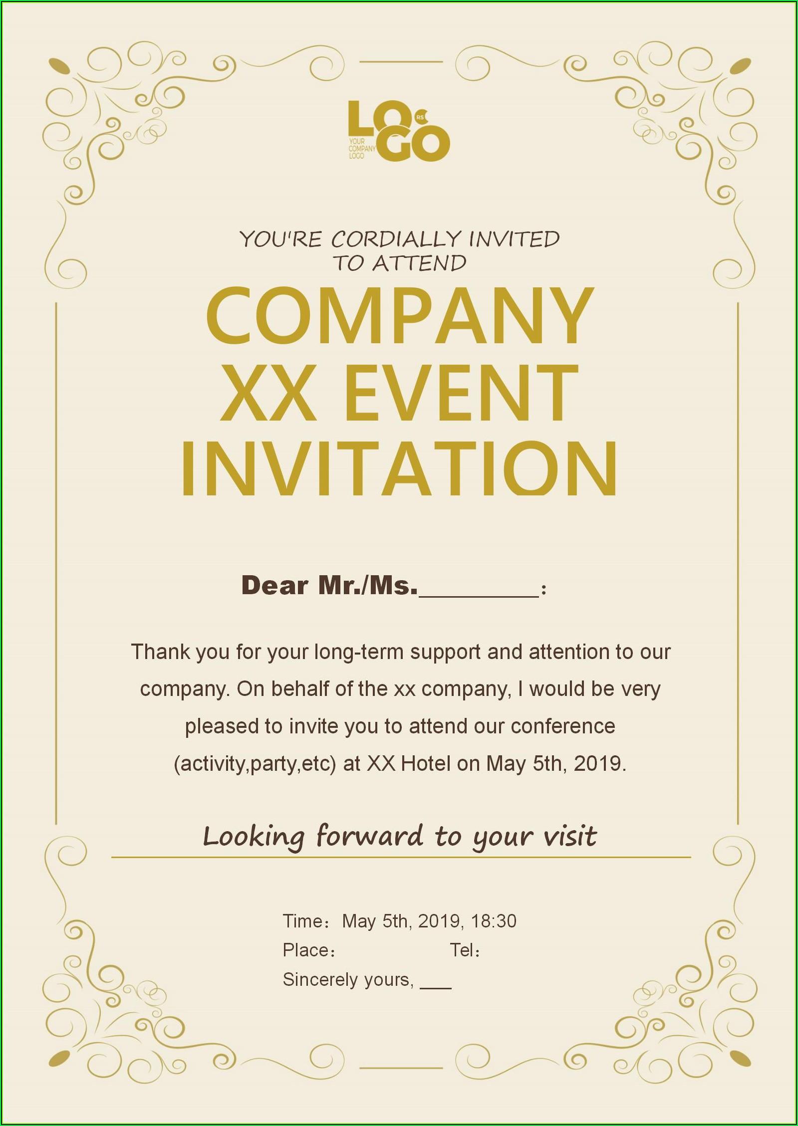 Corporate Event Invitation Templates Free Download