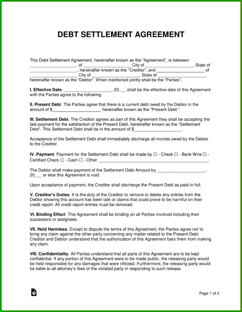 Debt Settlement Agreement Letter Pdf