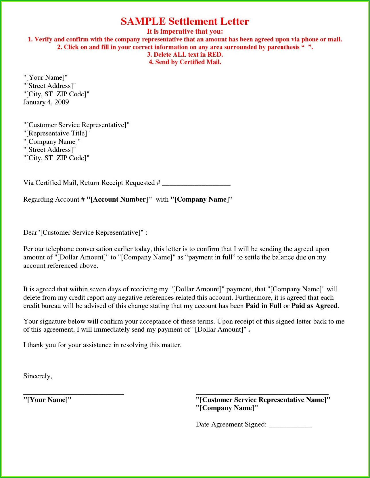 Debt Settlement Agreement Letter