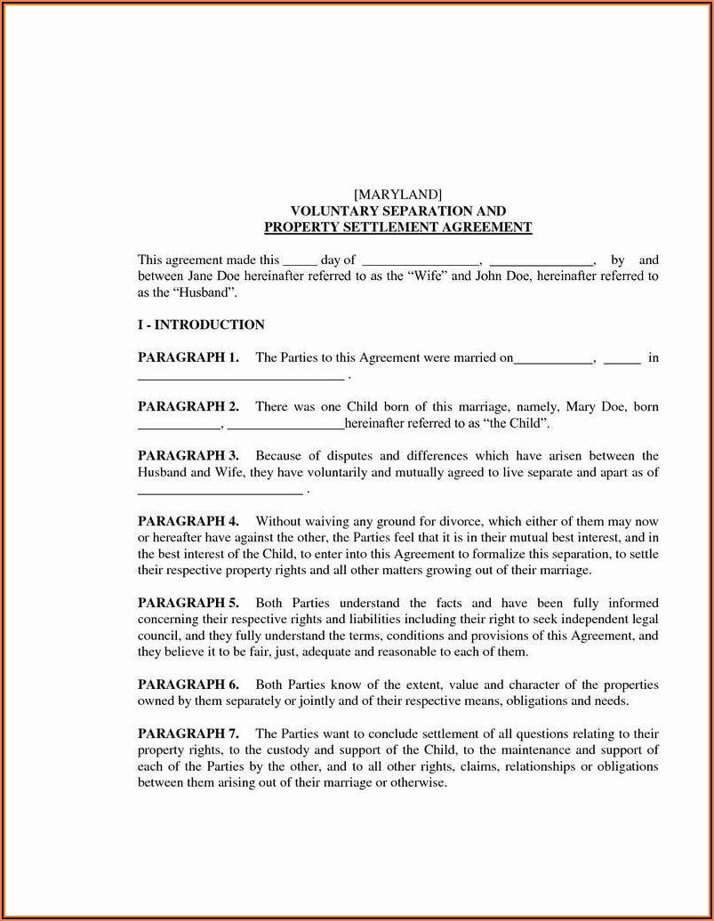 Divorce Settlement Agreement Form Maryland