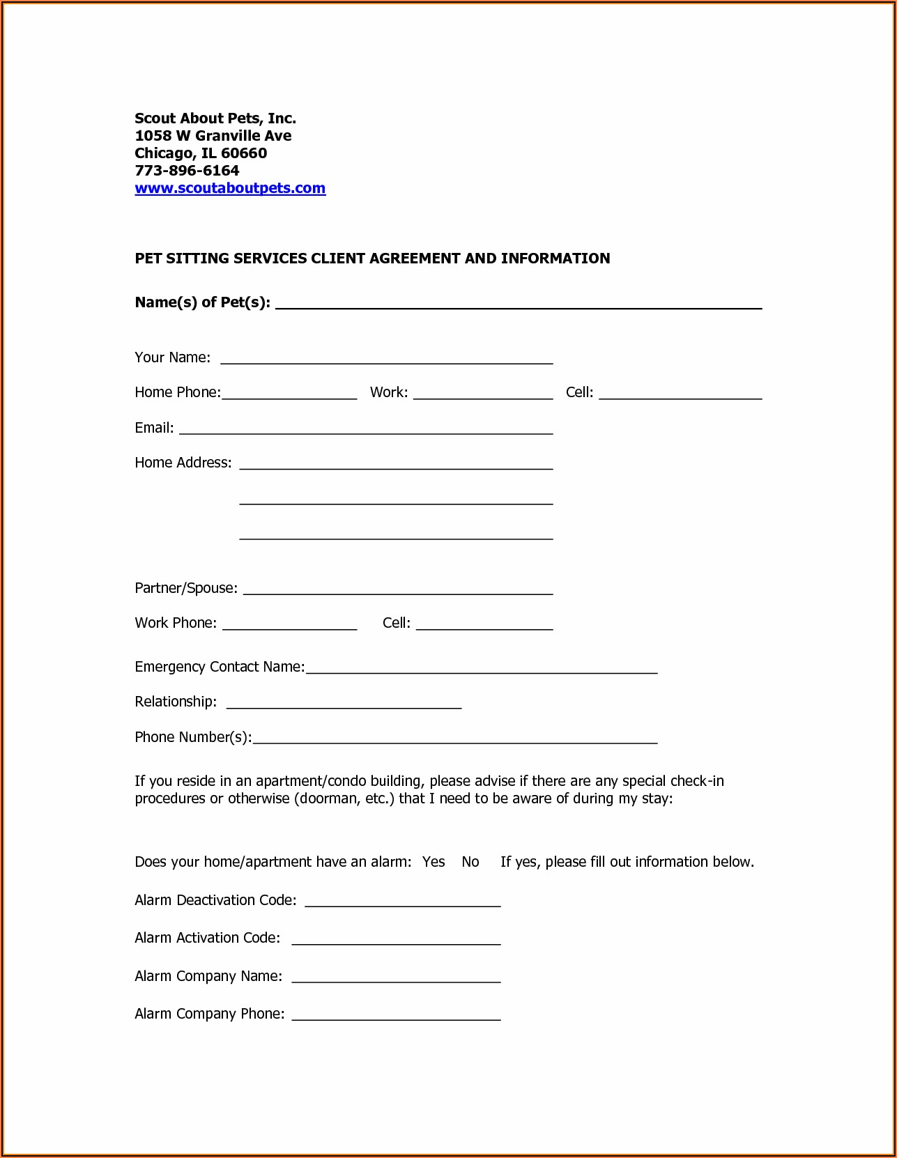 Dog Boarding Registration Form Template