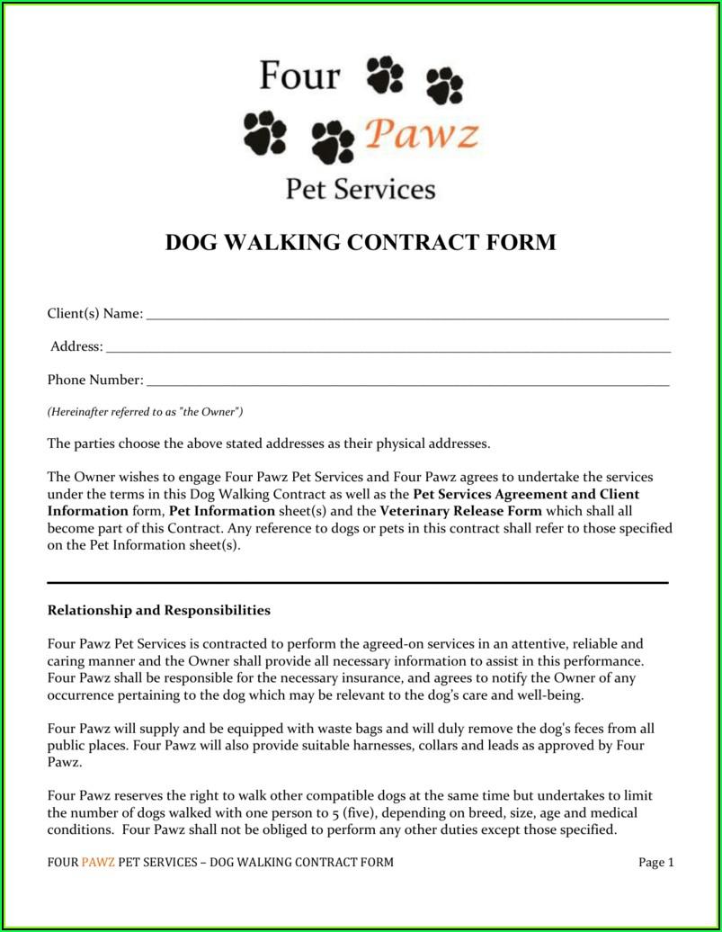 Dog Walker Contract Template Uk
