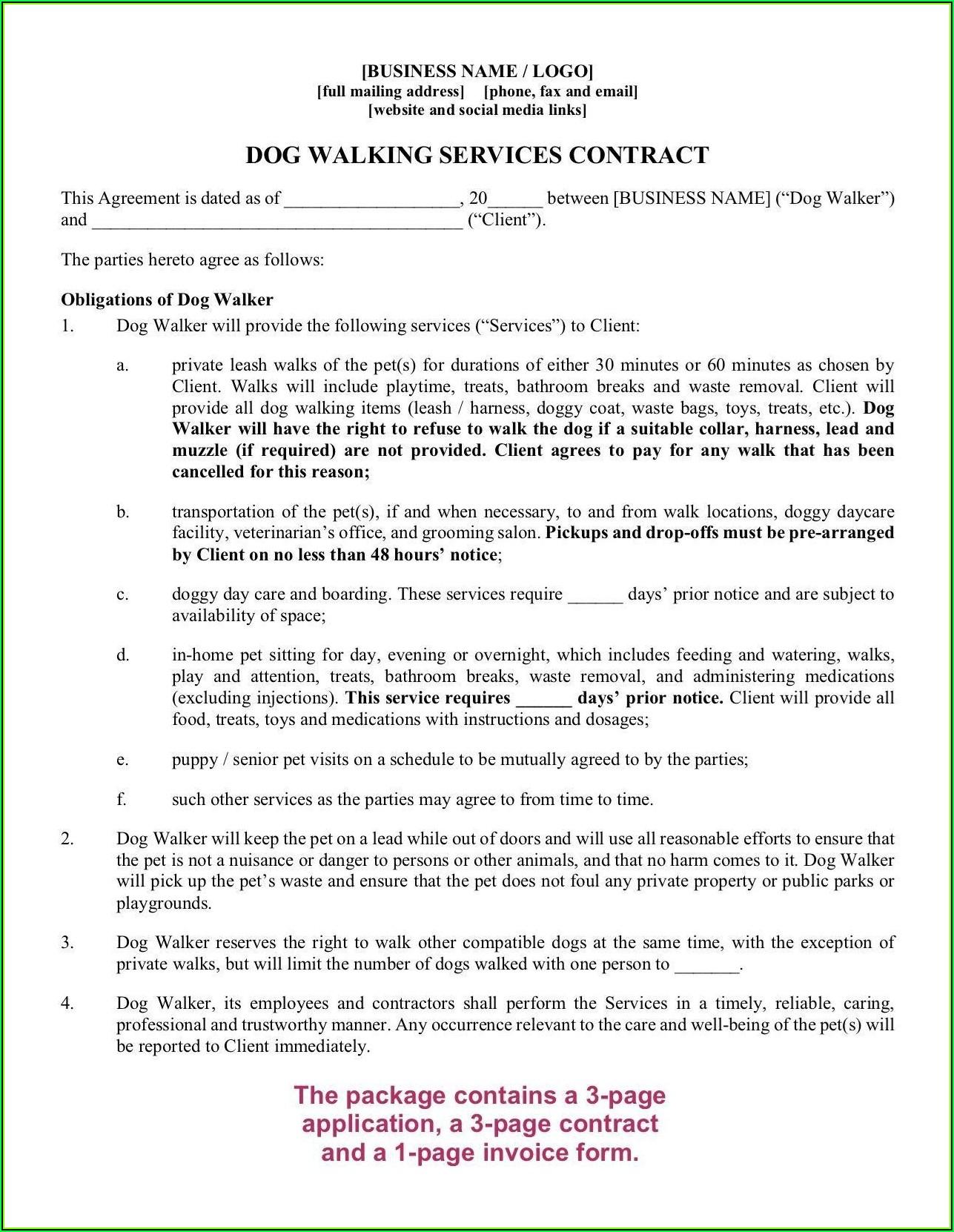 Dog Walking Agreement Template