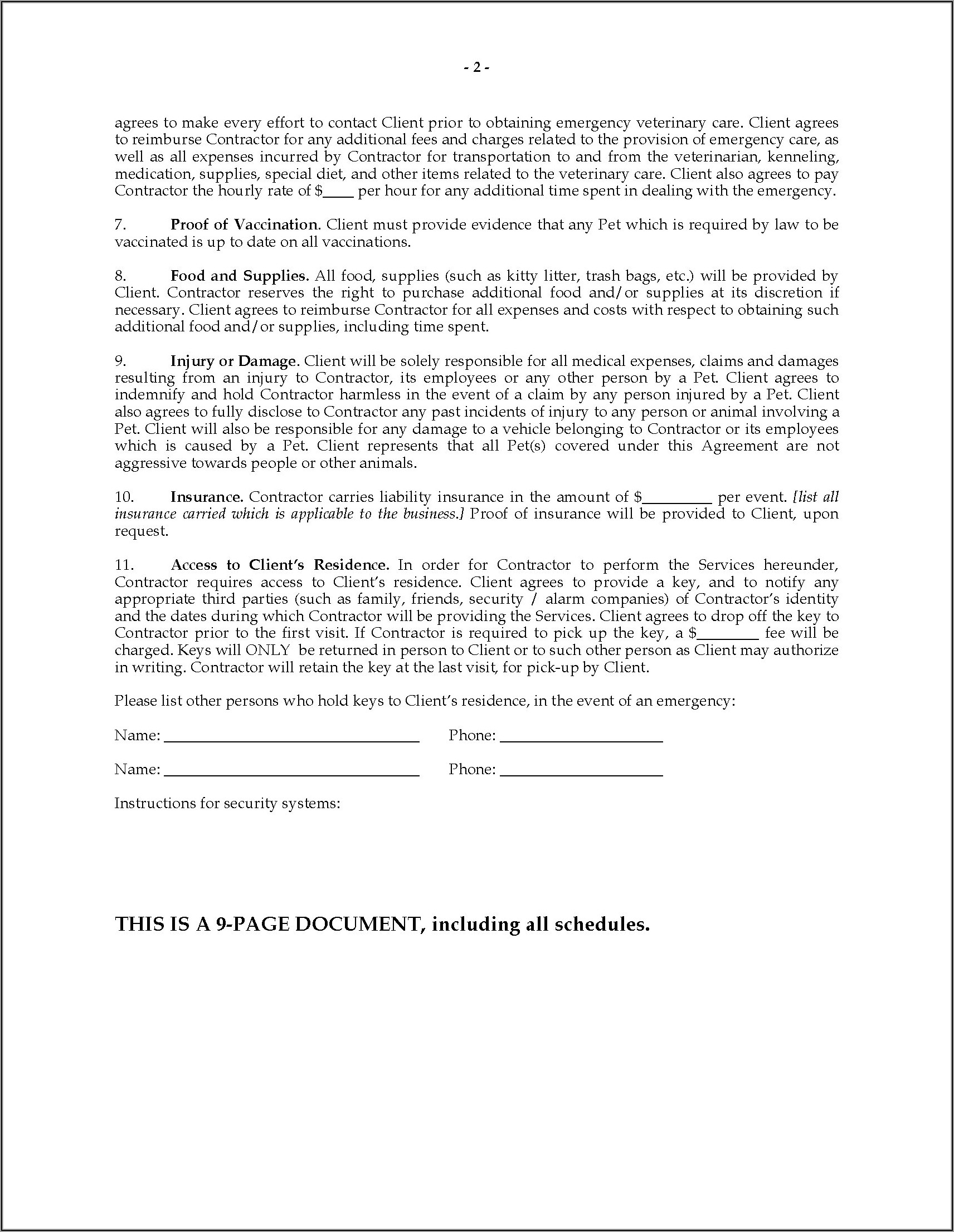 Dog Walking Contract Template Canada