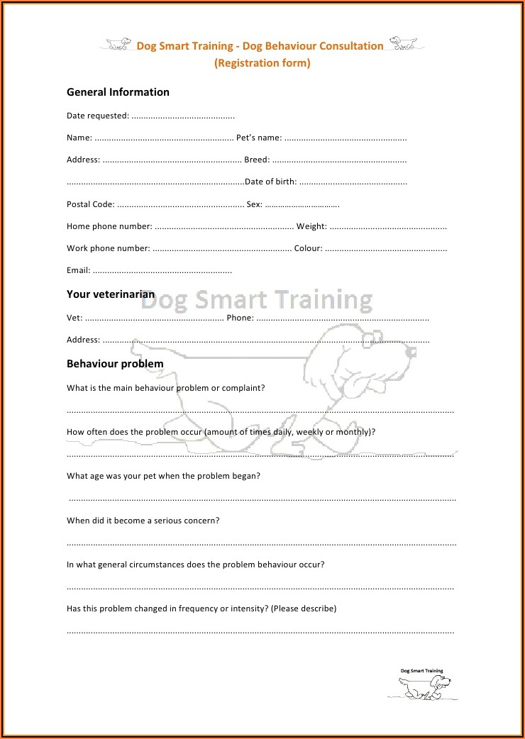 Dog Walking Registration Form Template
