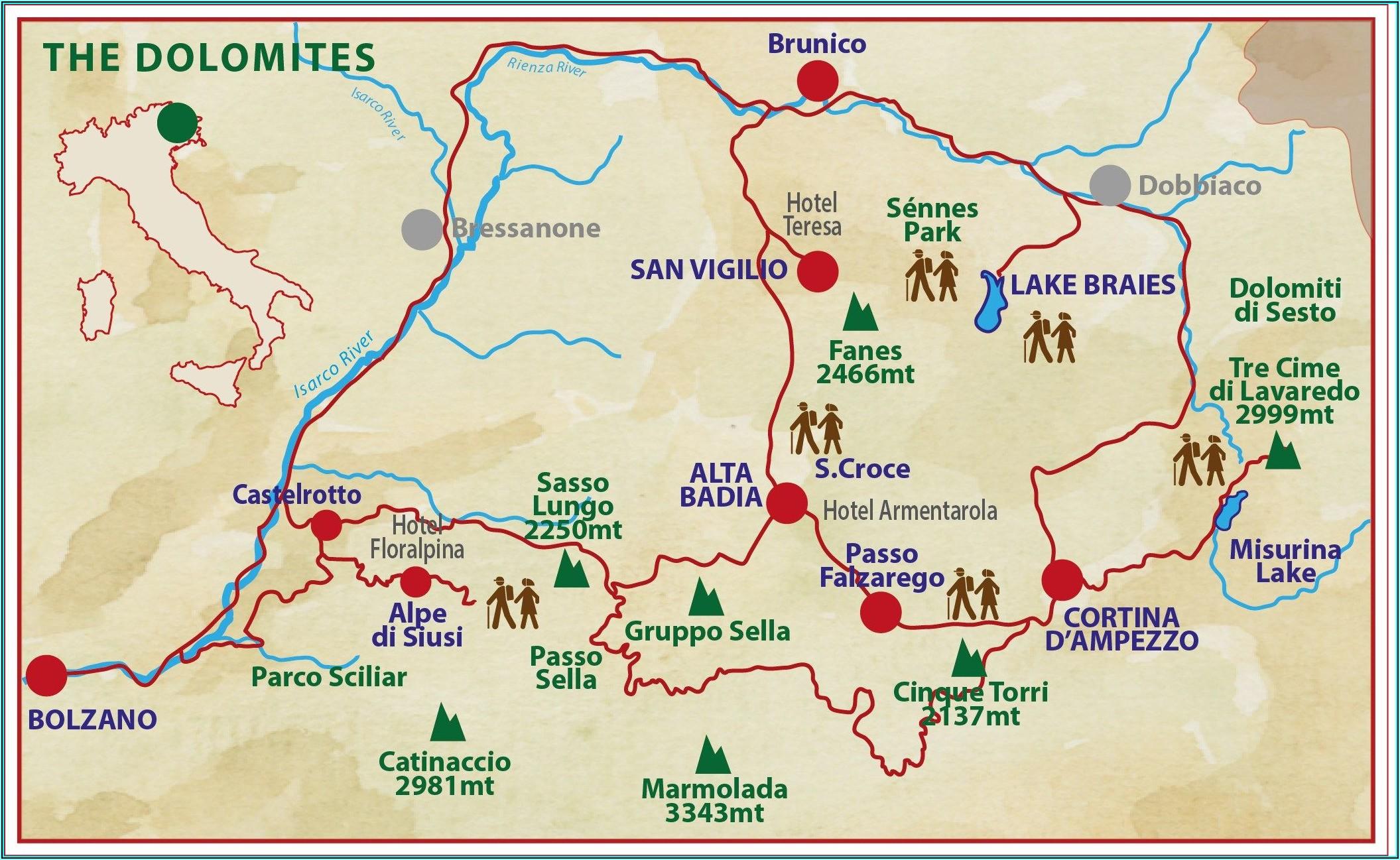 Dolomites Hiking Trails Maps