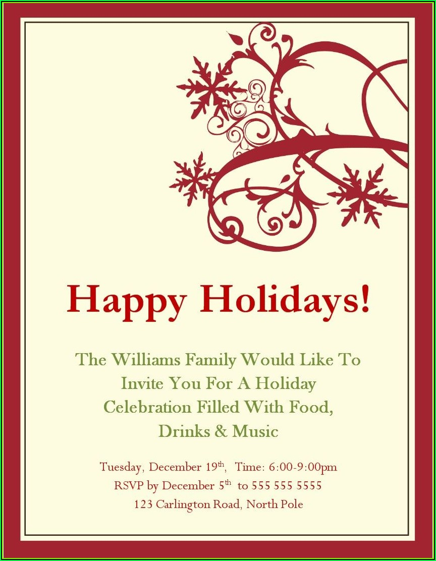 Downloadable Free Holiday Party Invitation Templates Word