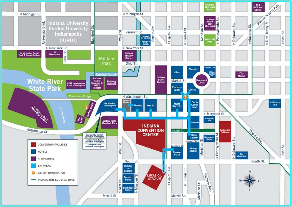 Downtown Indianapolis Hotels Map