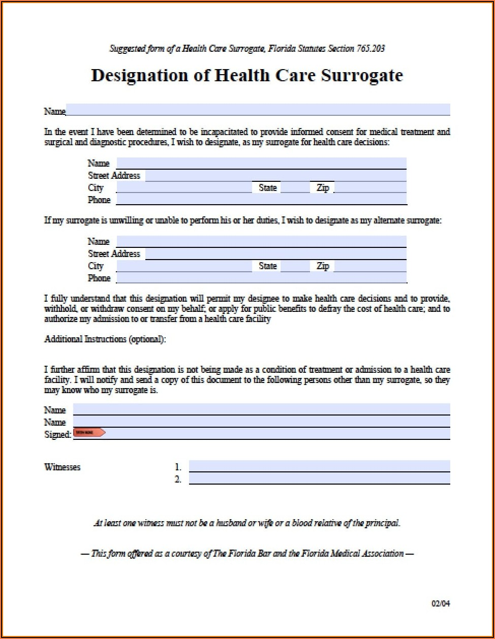 Durable Healthcare Power Of Attorney Form Florida