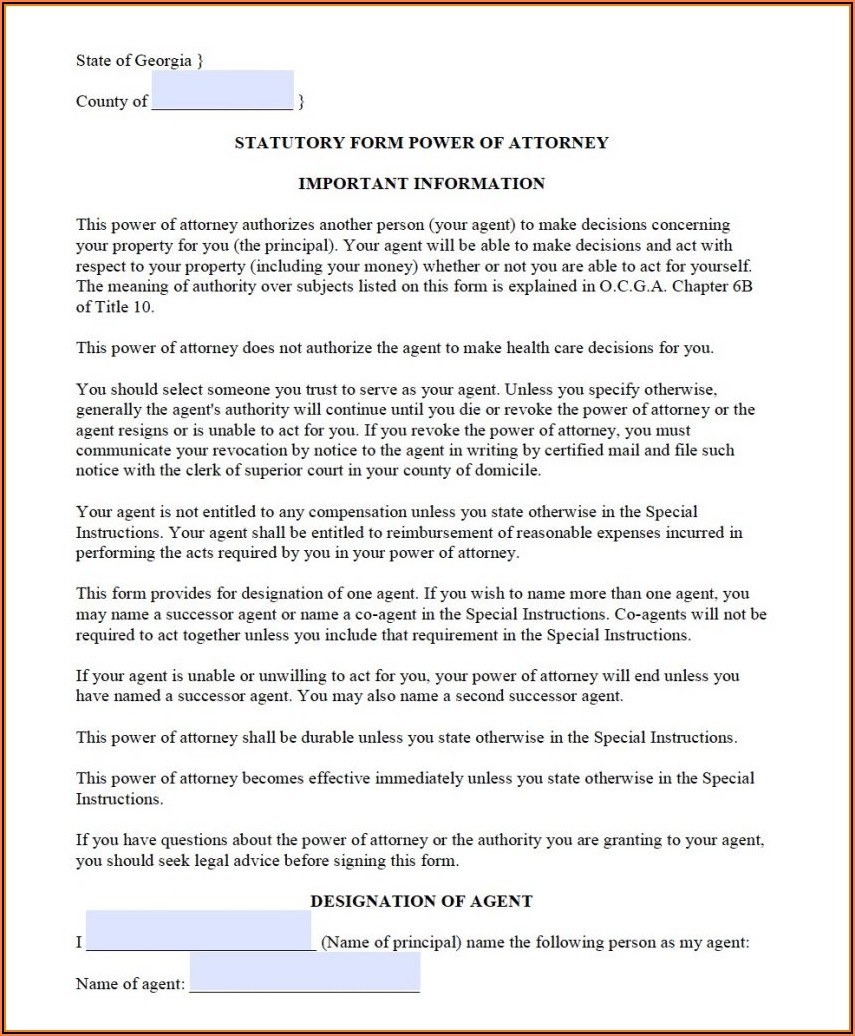 Durable Medical Power Of Attorney Form Georgia