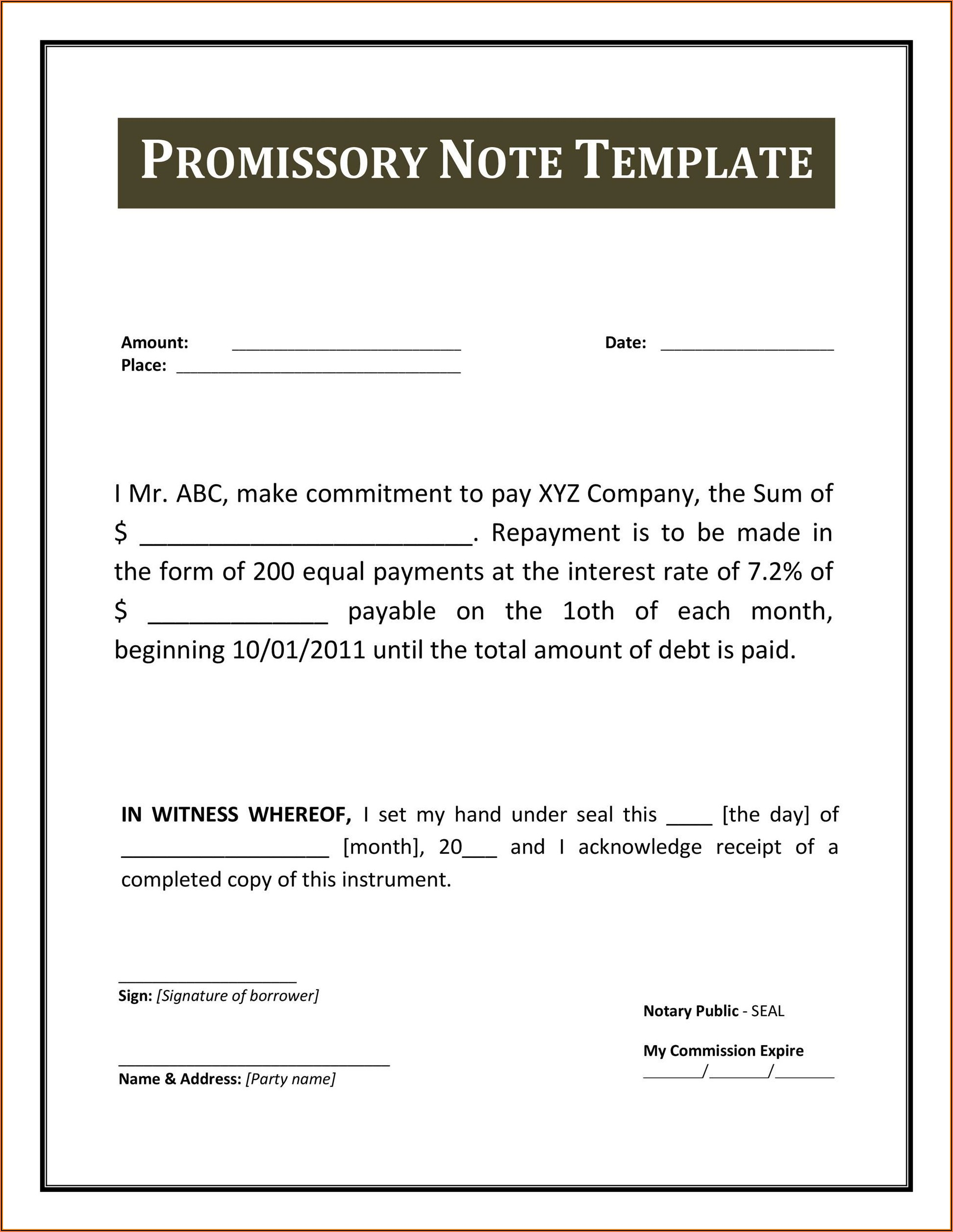Earnest Money Promissory Note Form