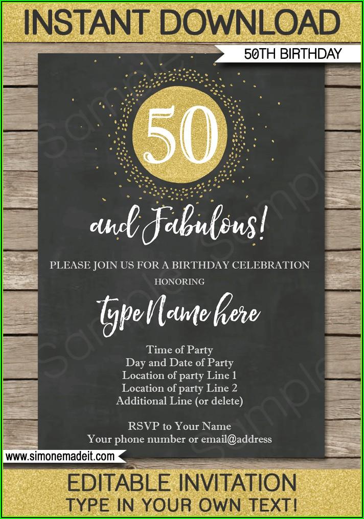 Editable 50th Birthday Invitation Templates Free