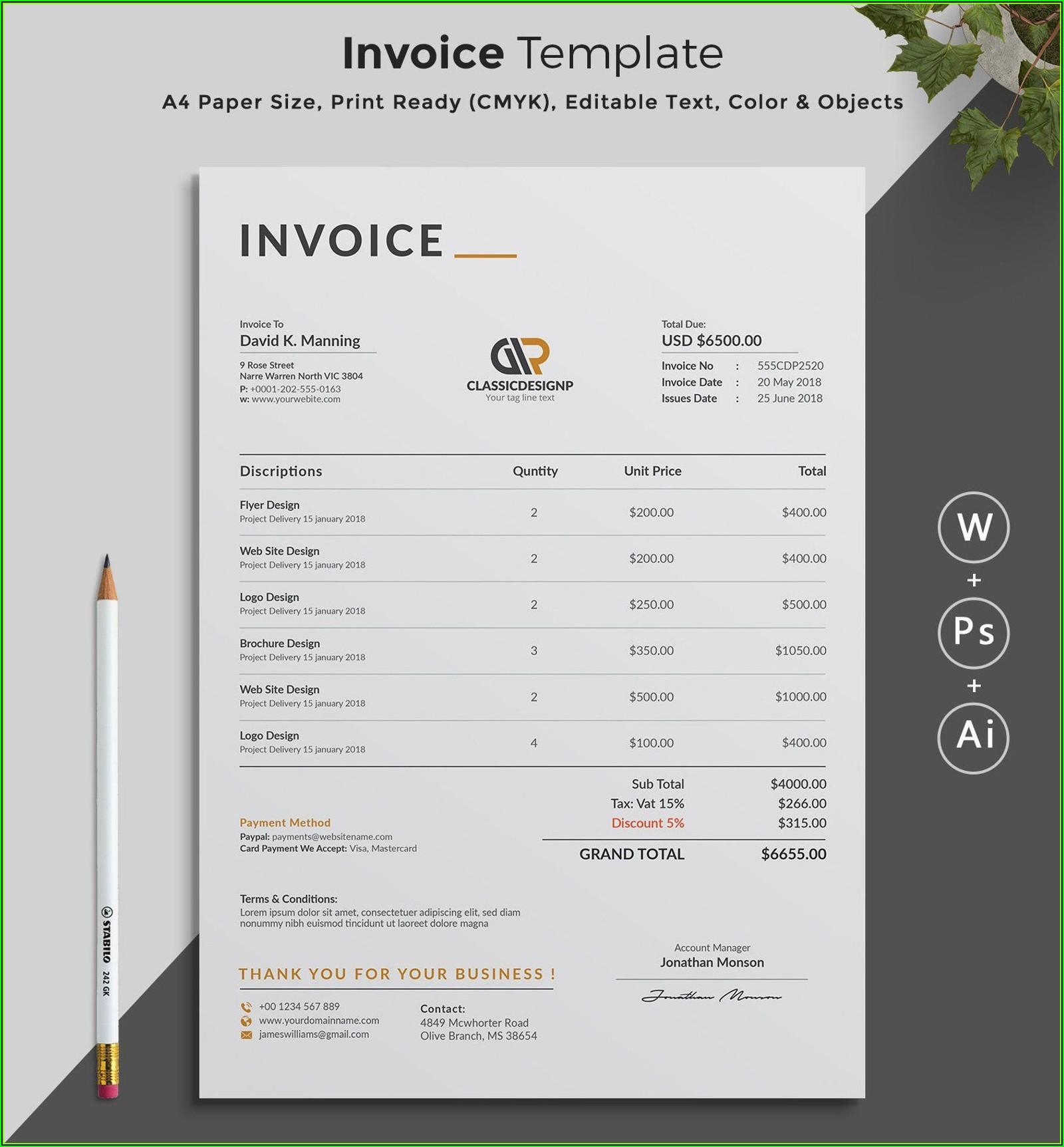 Estimate Invoice Template Word